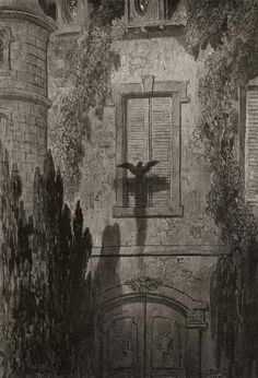 Illustration by Gustave Dore for Edgar Allan Poe's The Raven, Countdown to Halloween! Gustave Dore, Edgar Allan Poe, Art And Illustration, Art Illustrations, Saint Dominique, Arte Obscura, Monochrom, Wood Engraving, French Artists