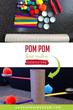 Super simple toddler and preschooler activity that kids can help create! Use recyclable materials you already have to create a pom pom balance tree and work on fine motor skills at home.