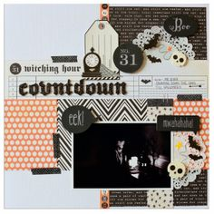 Papercrafting Halloween Inspiration: Scrapbook Layout from Pebbles
