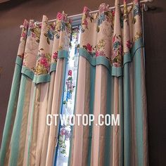 bedroom Cotton Toile Organic Fabric Beige And Teal Striped Curtains (Include Valance)