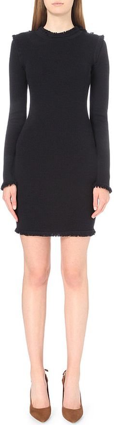 MICHAEL MICHAEL KORS Fringed-trim merino-wool dress