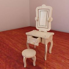 Beautiful Barbie vanity and chair. Pattern vector model for CNC router and laser cutting. Plywood 3mm/4mm/5mm/6mm. Dressing table. Scale 1/6