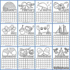 What better calendar to have than one with a personal touch – kids can color this free printable calendar however they w Calendar Worksheets, Calendar 2019 Printable, Make A Calendar, Blank Calendar Template, Kids Calendar, Free Printable Calendar, Templates Printable Free, Kindergarten Calendar, Preschool Calendar
