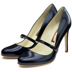 Rupert Sanderson Navy Patent Mary-Jane Pumps, found on polyvore.com