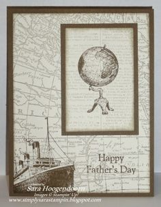 World Map, Dictionary, Traveler -- Simply Sara Stampin': Happy Father's Day or Birthday :)