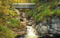 ... Bridge at the Flume Gorge attraction in New Hampshires Franconia Notch