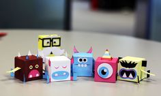 PikPok Monster Flip Foldable monsters - from left to right: Fleen, Dr Kuboid (back), Snuzzle, Glurp, Jittering, and angry Hypapop.