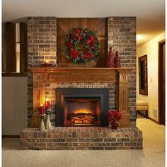 Astounding Image Of Fake Fireplace For Home Interior Decoration Ideas : Engaging Home Interior Design And Decoration Using Solid Light Oak Wood Shelf Over Fireplace Including Brick Long Gas Fireplace And Aged Brick Fireplace Surround Red Brick Fireplaces, Fake Fireplace, Fireplace Shelves, Fireplace Inserts, Living Room With Fireplace, Fireplace Surrounds, Fireplace Design, Fireplace Mantels, Fireplace Ideas