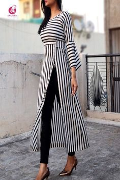 Black and white stripes crepe kurti kurtis online in india colorauction by sharon smi White Fashion, Look Fashion, Hijab Fashion, Trendy Fashion, Fashion Dresses, 80s Fashion, Stylish Dresses, Fashion Clothes, Fashion Tips