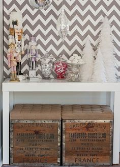 vintage crates, parsons desk, christmas tablescape, and graphic chevron.