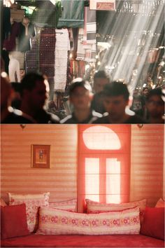 The sun's bright beaming light in Marrakech is reflected in both of these photos. In the top photo, you can see how the sun is eager to beam through and down onto the market.  In the second photo again you can see the sun beaming through the property. Both photos emphasise straight lines, inspiring Sella Concept. See The Sun, Straight Lines, New Perspective, Top Photo, Marrakech, Beams, Two By Two, Concept, Bright