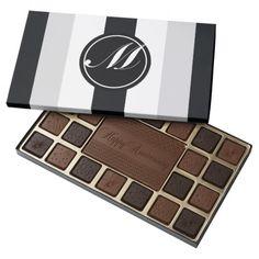 Elegant Sport Pattern and Monogram  Chocolate Style: 45 Piece Assortment