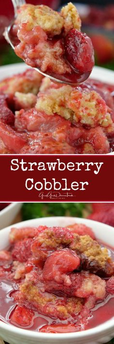 This fresh Strawberry Cobbler is a classic Southern cobbler recipe, loaded with fresh sweet strawberries and has a crunchy cake-like topping. #dessert #recipes #southernrecipes #summerdesserts #baking