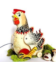 Home: Eleven Vintage Toys For Your Favourite Kidlet  (via Fisher Price Wooden Pull Toy Cackling Hen 120 by RetrofitStyle)