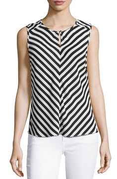 Laundry-by-Shelli-Segal-Keyhole-Striped-Blouse