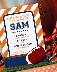 Football Party - Birthday -Printable Invitation -Your choice of team colors by Amanda's Parties To Go Football Birthday, 10th Birthday, Birthday Fun, Birthday Parties, Birthday Ideas, Football Party Invitations, Birthday Party Invitations, One Photo, Printable Invitations