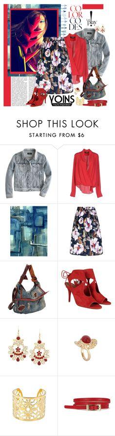 Floral Skirt by Yoins by carola-corana on Polyvore featuring moda, A'biddikkia, J.Crew, Aquazzura, AmeriLeather, vintage, women's clothing, women's fashion, women and female