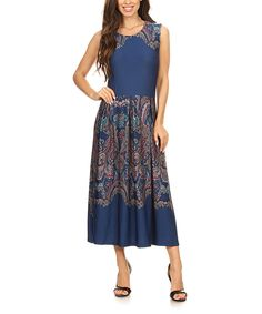 Take a look at this Navy & Turquoise Paisley Sleeveless A-Line Midi Dress - Plus Too today!
