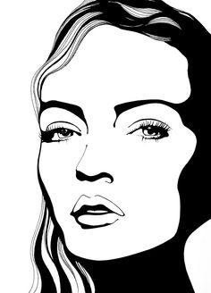 Rikke Jorgensen #illustration #beautyillustration #howto #blackandwhite #beachwaves #trafficNYC for artist bookings contact info@traffic-nyc.com