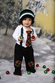CHRISTMAS PLAID SET Baby Boy Bodysuit with by shopantsypants, $54.00