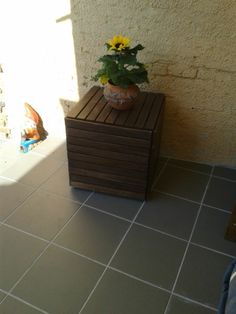 Wood tiles to wooden stool - IKEA Hackers
