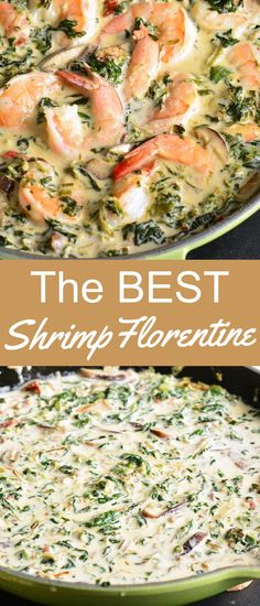Fast and easy Shrimp Florentine makes a perfect weeknight dinner because it's ready within 20 minutes. Juicy shrimp is cooked with spinach, mushrooms, shallots, sun-dried tomatoes, and white wine cream sauce. So much flavor is packed into one simple shrimp dinner. Serve it with any pasta or green vegetables. Shrimp Recipes For Dinner, Easy Dinner Recipes, Seafood Recipes, Appetizer Recipes, Breakfast Recipes, Garlic Shrimp Pasta, Dried Tomatoes, Special Recipes, Sun Dried