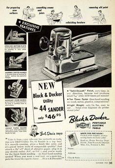 1952 Ad Black Decker Sander Electric Towson Sand Paper Power Tool Bob Davis PSC2