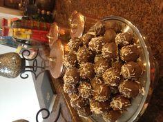 My husband's favorite. German chocolate cake balls!