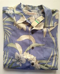 NWT Tommy Bahama 100% Silk Shirt Large L Luck of the Iris French Blue 2962