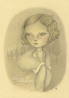 Original Pencil Drawing 1920s Inspired Girl by TheWishForest, $90.00