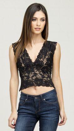 Sleeveless V-Neck Lace Crop Top - Black