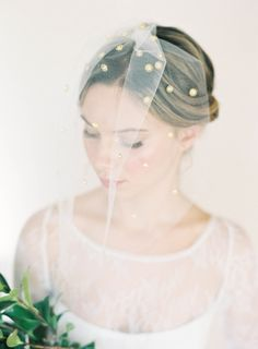"Blusher veil with gold dots: ""Campbell"" by Hushed Commotion, photo by Jen Huang"