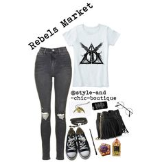 Harry Potter! ~ Rebels Market 20 by style-and-chic-boutique on Polyvore featuring Topshop, Converse, Whistles, Casetify and rebelsmarket