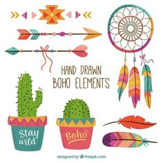 Colorful pack of hand-drawn boho elements Free Vector Textile Patterns, Print Patterns, Clipart Png, Label Paper, Boho Designs, Banner Vector, Flower Backgrounds, Mandala Design, Planner Stickers