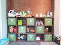Does your messy playroom give you a headache? Keep it all sorted, organized, and tucked away with some fabric bins. Once you created a system, it's much easier for your kids to keep everything neat!
