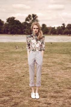 Cropped trouser pants, floral top and tied scarf! LOVE!