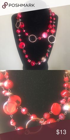 🔴Red 🔴bead and metal statement Necklace One long strand measuring 40 inches 🔘 adjustable clasp 🔘 you can wear it long or double wrap it to create a double stranded look🔘 Red glass beads and copper color metal accents Charming Charlie Jewelry Necklaces