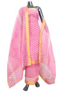 Kota Cotton Silk Blockprint Salwar Suit-Pnik:GiftPiper.com
