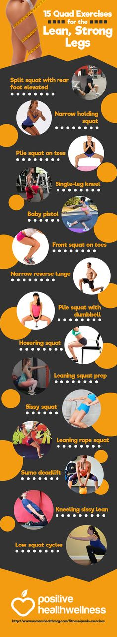 15 Quad Exercises for the Lean, Strong Legs – Positive Health Wellness Infographic (Fitness Routine Glutes) Quad Exercises, Knee Exercises, Fitness Goals, Fitness Motivation, Exercise Motivation, Quad Strengthening, Fitness Infographic, Infographics, Strong Legs