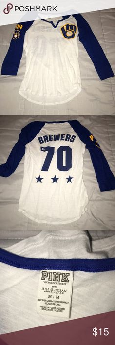 Brewers Baseball Tee Milwaukee Brewers Tee Sequined logo on front.   No trades. PINK Tops
