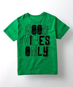 Kelly Green 'Good Vibes Only' Pencil Sketch Tee - Kids