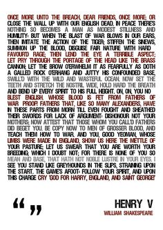 Shakespeare quote Shakespeare poster Henry V Poster by Redpostbox