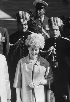 Queen Elizabeth II upon her arrival in India in 1961, the first British monarch to visit since George V in 1911.