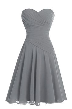 Bess Bridal Women's Short Sweetheart Ruched Chiffon Bridesmaid Dress Steel Grey