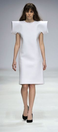 Tubular Sleeves - minimal white fashion, clean & structured with exaggerated 3D sleeve construction // Tze Goh AW10