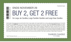 Pinned November 24th: 4-for-2 at Yankee #Candle or online via promo code THANKFUL8 #coupon via The #Coupons App