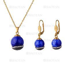 juego collar y aretes de pinones brillante especial azul en acero dorado inoxidable - SSNEG503537
