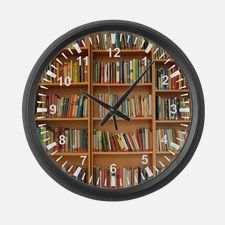 Books on bookshelf Large Wall Clock for