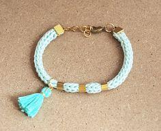 Mint bracelet with tassel mint tassel bracelet by LeiniJewelry, €9.50