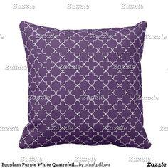 Eggplant Purple White Quatrefoil Clover Pattern Throw Pillow